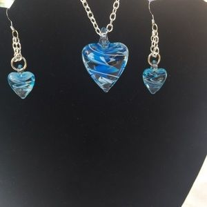 Glass heart and chain necklace/earring set